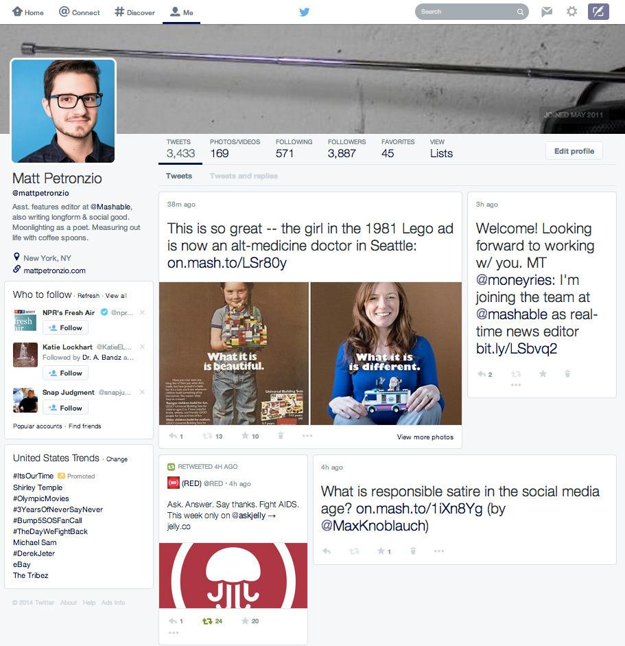 Nuevo diseño del perfil de Twitter